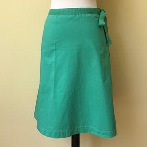 J. Crew Mint Green Cotton A-Line Mid Length Skirt